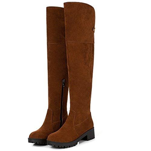 Bas Hiver Classique COOLCEPT Camel Chaussures Talon Femmes Bottes with Hautes Fermeture XwwBYR