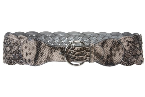 3 inch Wide Python/Snake Print High Waist Braided Woven Belt Size: M - 34 Color: Grey