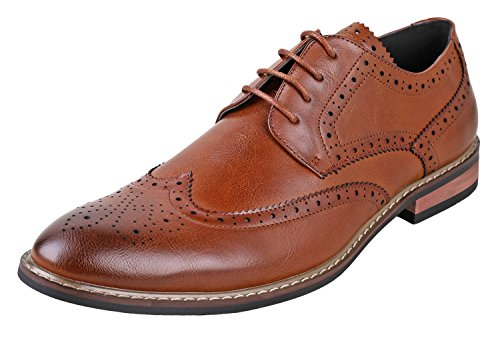 Urban Fox Men's Ethan Oxford Dress Shoes For Men | Formal | Lace-Up | Classic Design | Wingtip | Mens Dress Shoes Light Brown 10 (Amazon Shoes)