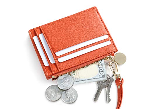 SERMAN BRANDS Slim Wristlet Card Case Holder Small RFID Blocking Wallet Change Purse for Women Keychain - Removable Wristlet Strap (Velvet Poppy CH)