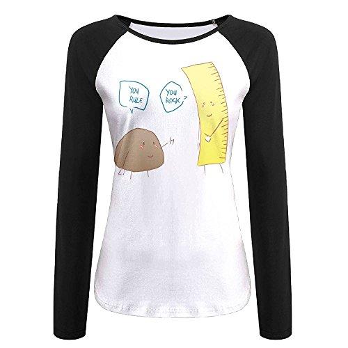 Icangqub You Rock You Rule Women's Leisure Sports Comfortable Shoulder Long Sleeve T-shirt (Halloween Stewie)