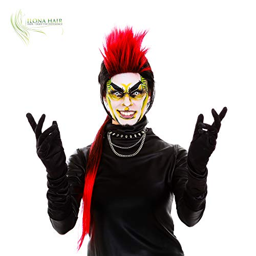 (ENJOY THE DIFFERENCE Mohawk XL Long Wig Black and red for Woman and Man Halloween Costume Hairpiece Punk Rocker Spiky Hair)