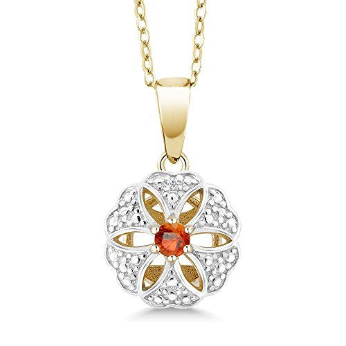(Gem Stone King 18K Yellow Gold Plated Silver Pendant Round Orange Sapphire 0.13 cttw)