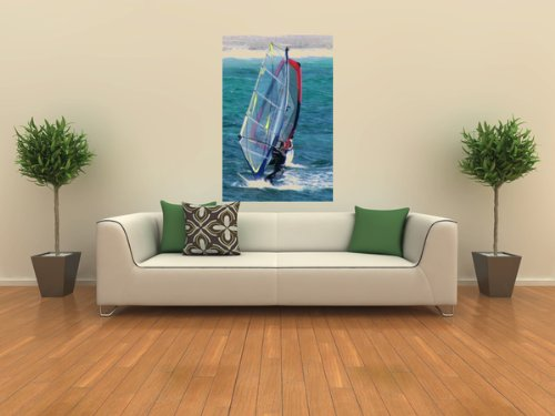 Leisure Wall Decals Windsurfing - 24 inches x 16 inches - Peel and Stick Removable Graphic