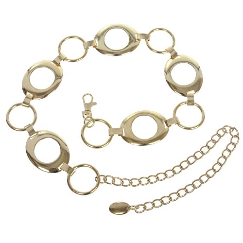 Women's Metal Oval Circle Chain Belt, Gold | O/S - 39 End To End ()
