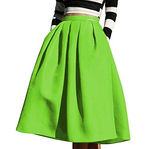 A-line Back Zip Skirt (Yige Women's High Waisted A line Skirt Skater Pleated Full Midi Skirt Light Green US16)