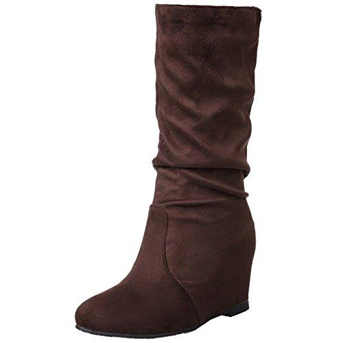 High Heels Brown COOLCEPT Hidden Ankle Wedges Women's Increasing Boots YAzSx