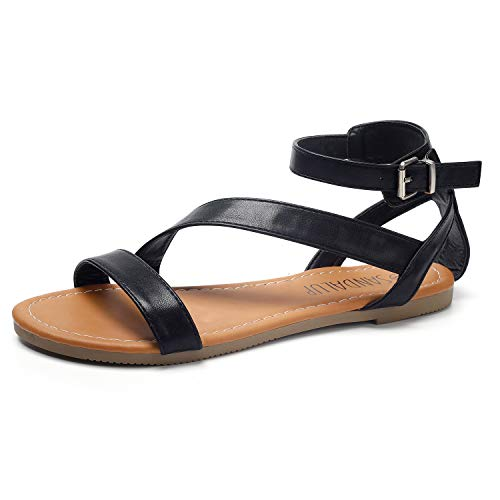 (SANDALUP Flat Sandals with Oblique Band Ankle Strap for Women Black 08.5)