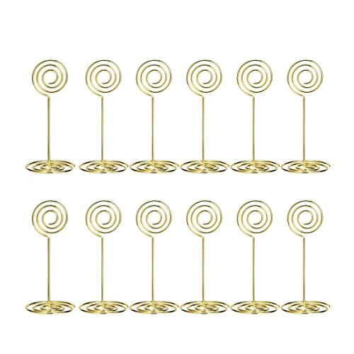 AIEVE Table Card Holders - 24 Pack Wire Shape Place Card Holders Table Number Holders Table Photo Holder Table Pictures Stand for Place Cards Wedding Party Office Desk Name Memo Menu Clips (Gold) -