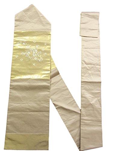 治安判事スキムトリップリサイクル 名古屋帯 刺繍 桜や橘の花模様 正絹
