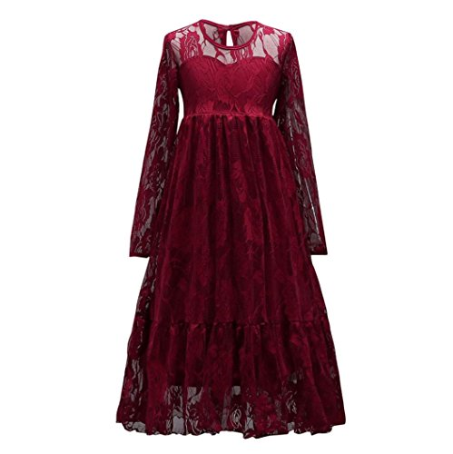 Kids Dress,Kstare Child Girl Lace Long Sleeve Bridesmaid Pageant Tutu Tulle Gown Party Wedding Princess Dress (14T, Red)