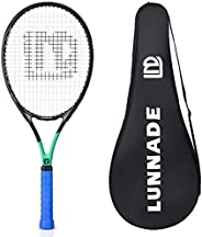 LUNNADE Adults Tennis Racket 27 Inch, Shockproof Carbon Fiber Tennis Racquet Light-Weight, Pre-Strung and Regr