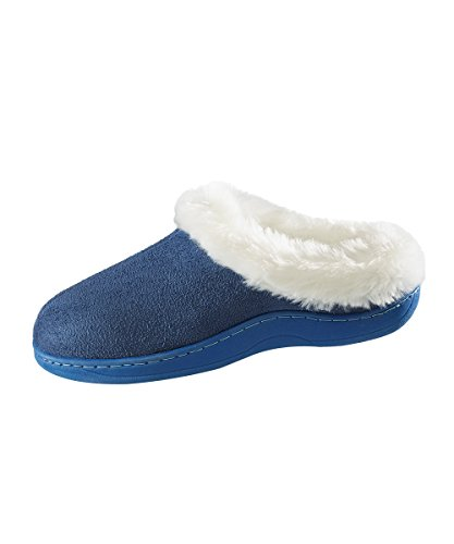 Extra Fur Cushion Elderly Resistant Slippers Navy Suede Disabled Slip Slippers Insoles Needs for On Comfort Look Slip Silverts Value Sheepskin Great q4awfAxx