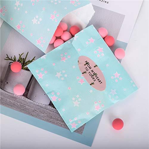 Xiaogongju 50Pcs/ Lot Treat Candy Bag Party Favor Paper Bags Chevron Polka Dot Stripe Printed Paper Craft Bags Bakery Bags Blue Star 13x18cm