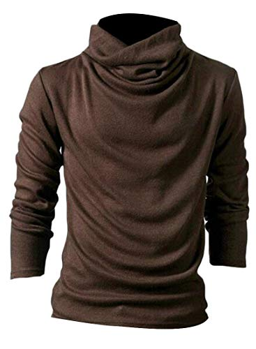 Lutratocro Men Slim Pure Colour Knits Cowl Neck Basic Pullover Jumper Sweaters Coffee ()