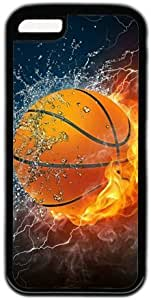 Basketball In Water And Fire Theme Case for IPhone 5C PC Material Black