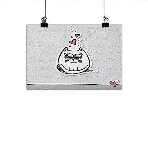 Littletonhome Doodle Modern Frameless Painting Adorable Cat with Mini Hearts on Its Head Feline in Love Valentines Design Bedroom Bedside Painting 35