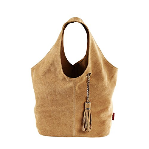 (BURGAN Magnus Unlined Hobo (Tan Suede) Handcrafted Leather Handbag and Shoulder Bag for Women)