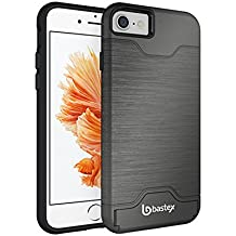 iPhone 7 Case, Bastex Hybrid Slim Fit Black Rubber Silicone Cover Hard Plastic Grey Brushed Metal Design Kickstand Case with Hidden Credit Card Slot for Apple iPhone 7