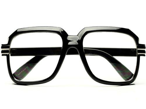HIP Hop Rapper Retro Large Oversized Clear Lens Eye Glasses - Cazal Clear