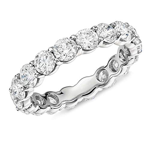 Diamond Ring Eternity Simulant - Erllo 925 Sterling Silver Ring 4mm Round Cut Cubic Zirconia CZ Eternity Engagement Wedding Band Ring (7)