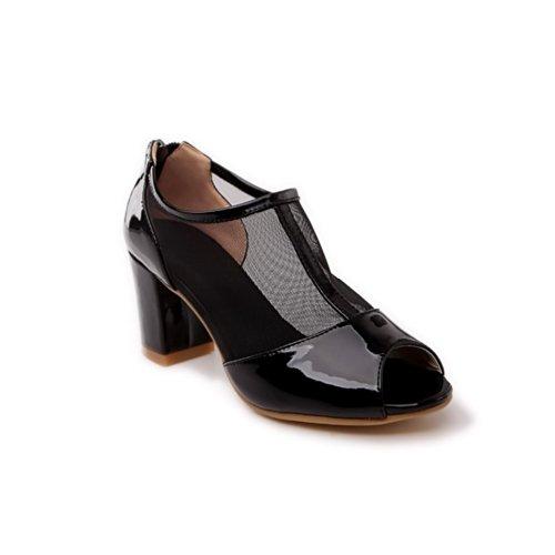 VogueZone009 Womens Open Peep Toe Kitten Heel Chunky Heels Mesh Patent Leather Solid Sandals with Zipper, Black, 4.5 UK