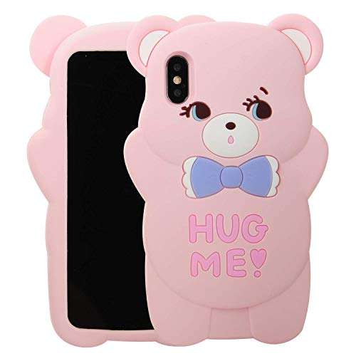 iPhone 7 Plus/iPhone 8 Plus Bear Phone Case,3D Cartoon Animal Character Design Cute Soft Silicone Kawaii Cover,Cool Cases for Kids Boys Girls (Pink, iPhone 7 Plus/iPhone 8 Plus)