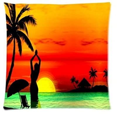 Unique Style Stylish Sunset Beach Sea Home Decorative Throw Pillow Covers Zippered Square Twin Sides Printing Case 18x18 Inch