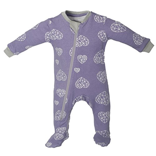Price comparison product image ZippyJamz Organic Baby Footed Sleeper Pajamas With Inseam Zipper For Quicker and Easier Diaper Changes ~ Heartbreaker - Pink (12-18 Months)