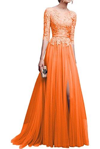 Jugendweihe Rosa mia Braut Promkleider Dunkel Orange Kleider La Festlichkleider Abendkleider Spitze Langarm Ballkleider mit Damen 71Rf1wq