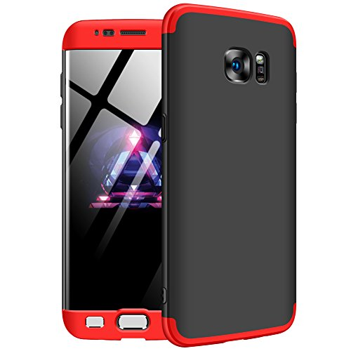 GKK Samsung Galaxy S7 Edge Case, Double Dip Ultra Slim Knight Series Case For Samsung S7 Edge Cover Hybrid PC [HARD] Full Protection Matte Phone Case (Red-Black-Red)