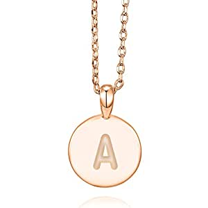 PAVOI 14K Rose Gold Plated A Initial Alphabet Pendant Necklace