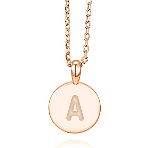 (PAVOI 14K Rose Gold Plated Letter Necklace for Women | Gold Initial Necklace for Girls | Letter A)