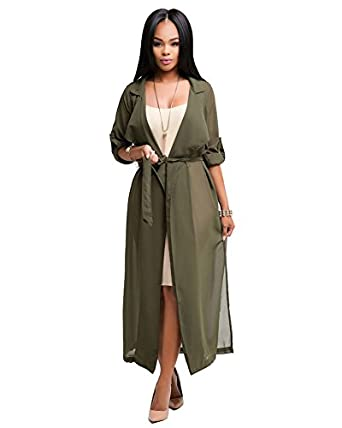 Mojessy Womens Lightweight Waterfall Belted Open Long Chiffon Maxi ...