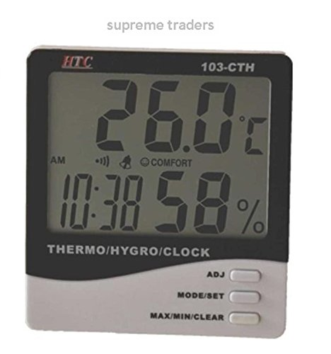 HTC Instrument 103-CTH Digital Indoor Hygrometer Thermometer with Clock by Supreme Traders Supertronics1989