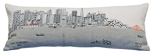 Beyond Cushions Polyester Throw Pillows Beyond Cushions San Francisco Daytime Skyline King Size Embroidered Pillow 46 X 14 X 5 Inches Off-White