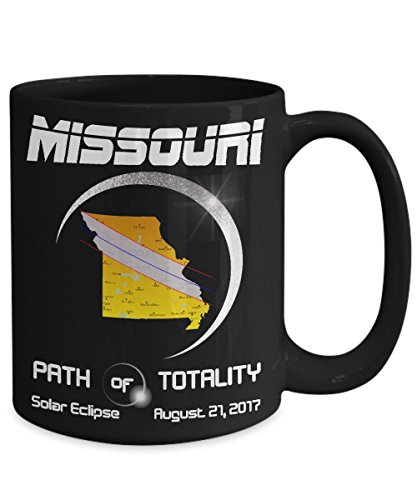 Solar Eclipse 2017 Missouri Coffee Mug - Total Solar Eclipse Mug - USA Black Coffee Tea Cup, Astronomy, Map, Moon, Sun, America, Smart, Flag (15OZ) by FunnyGiftMugs