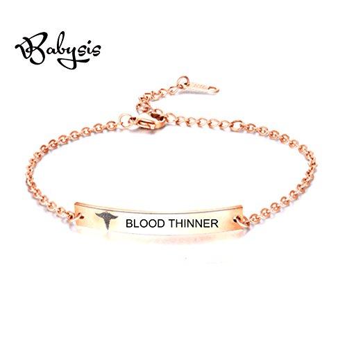 BABYSIS Medical Alert Bracelet -First Alert Bracelet- Personalized Medical ID Bracelet and Child ID For Women (Free Engraving) (R-BLOOD THINNER) (Medical Alert Bracelet Id Silver)
