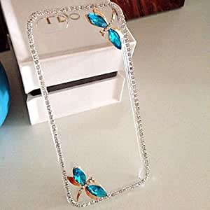 GJYLUXURY Diamond Dragonfly Back Cover Case for iPhone 5/5S