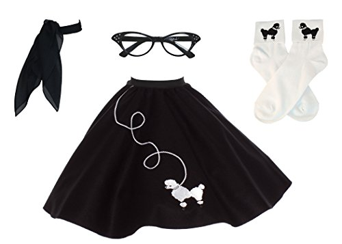 Hip Hop 50s Shop Adult 4 Piece Poodle Skirt Costume Set Black and White XLarge/XXLarge -