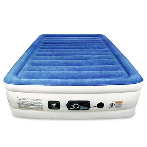SoundAsleep Products SoundAsleep CloudNine Series Queen Air Mattress with Dual Smart Pump Technology (Blue Top/Beige Body, Queen)