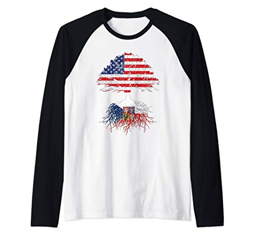 - Czech American Roots Shirt Gift Czech Republic USA Flag Raglan Baseball Tee