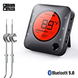 Wireless BBQ Thermometer,Premium Bluetooth Digital Smart Meat Thermometer,2Upgrade Stainless Steel Probe APP Alarm