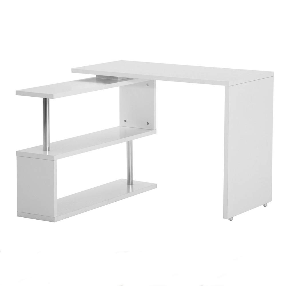 Arin Shop Computer Desk L Shape Computer Desk Corner Laptop Workstation Student Writing Table Bookshelf White 40.32 x 19.69 x 29.53 inch
