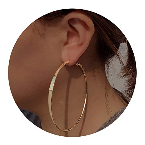 for Women - Big Hoop Earrings Gift for Women,idea Birthday Gift for Party,Daily, (Front Flat Gold) ()