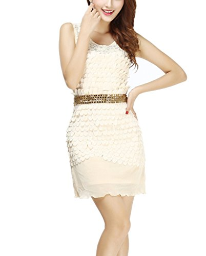 Petal Lace See Through Mini Chic Speakeasy Party Dress Attire Costume 1920 -