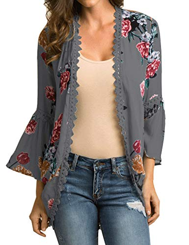 Relipop Women's Sheer Chiffon Blouse Loose Tops Kimono Floral Print Cardigan -