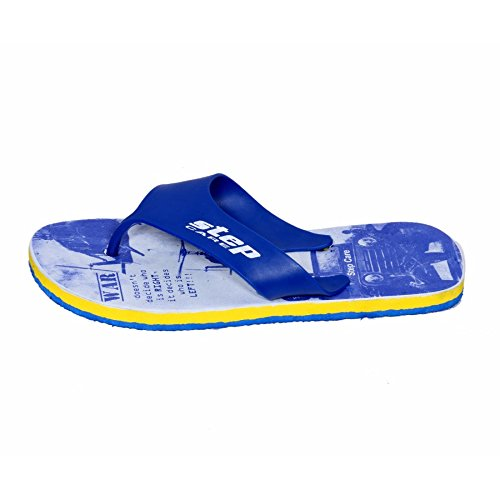 Indiweaves Uomo Step Care In Gomma Flip Flop House Slipper E Hawaai Chappal-blu