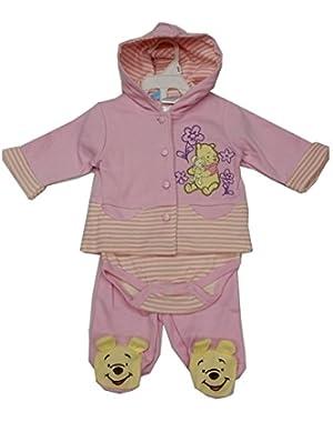 Baby Girls Pink Winnie The Pooh Hooded Top Onesie 3 Pc Pant Set 3-9M