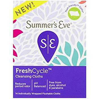 Summer's Eve FreshCycle Cleansing Cloths, Reduces Period Odor, 14 Count